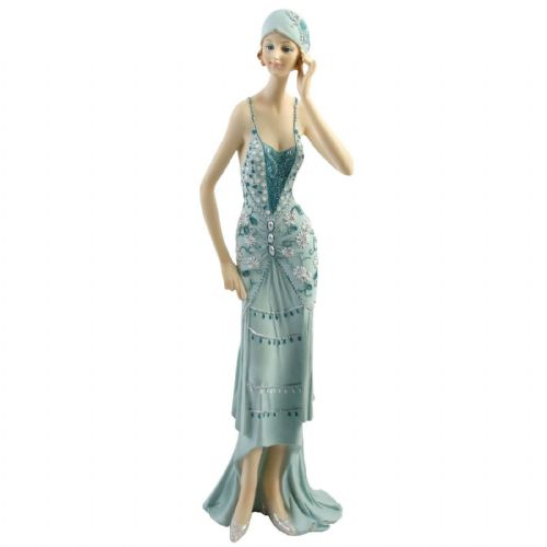 Art Deco Broadway Belles Juliana Teal Figurine 58202 Hand To Head Lady Statue